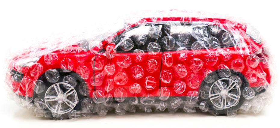 Car in bubblewrap